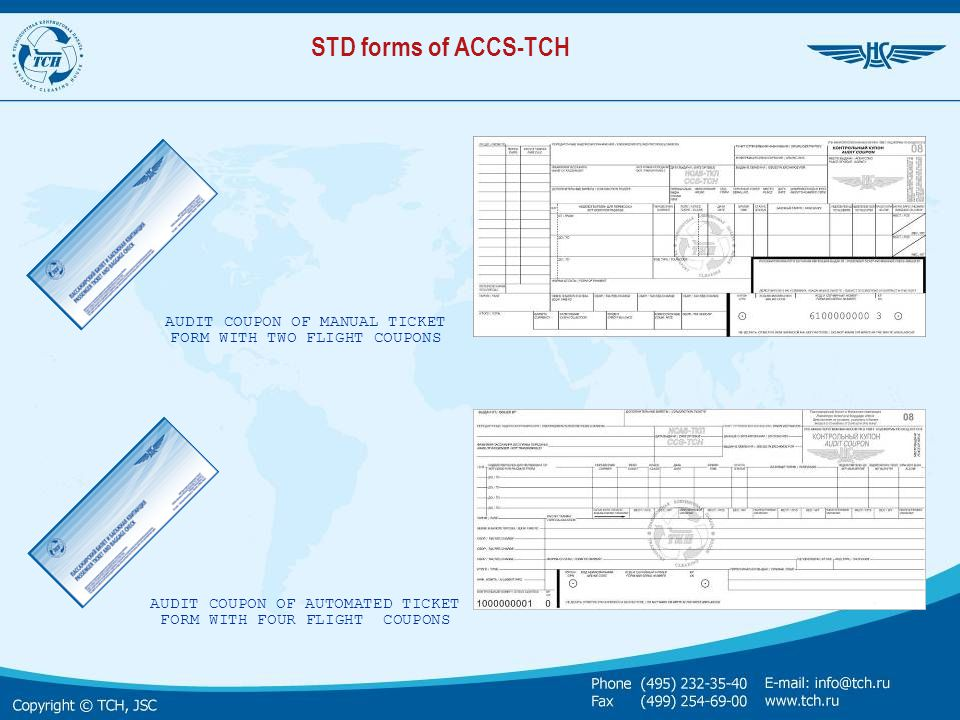STD forms of ACCS-TCH AUDIT COUPON OF MANUAL TICKET FORM WITH TWO FLIGHT СOUPONS.