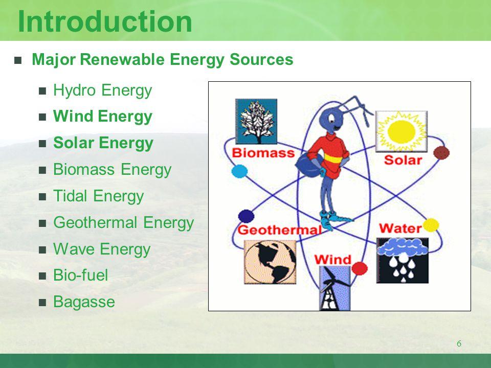 Introduction Major Renewable Energy Sources Hydro Energy Wind Energy