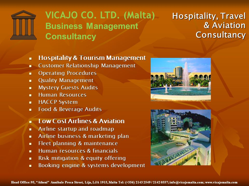 Hospitality, Travel & Aviation Consultancy