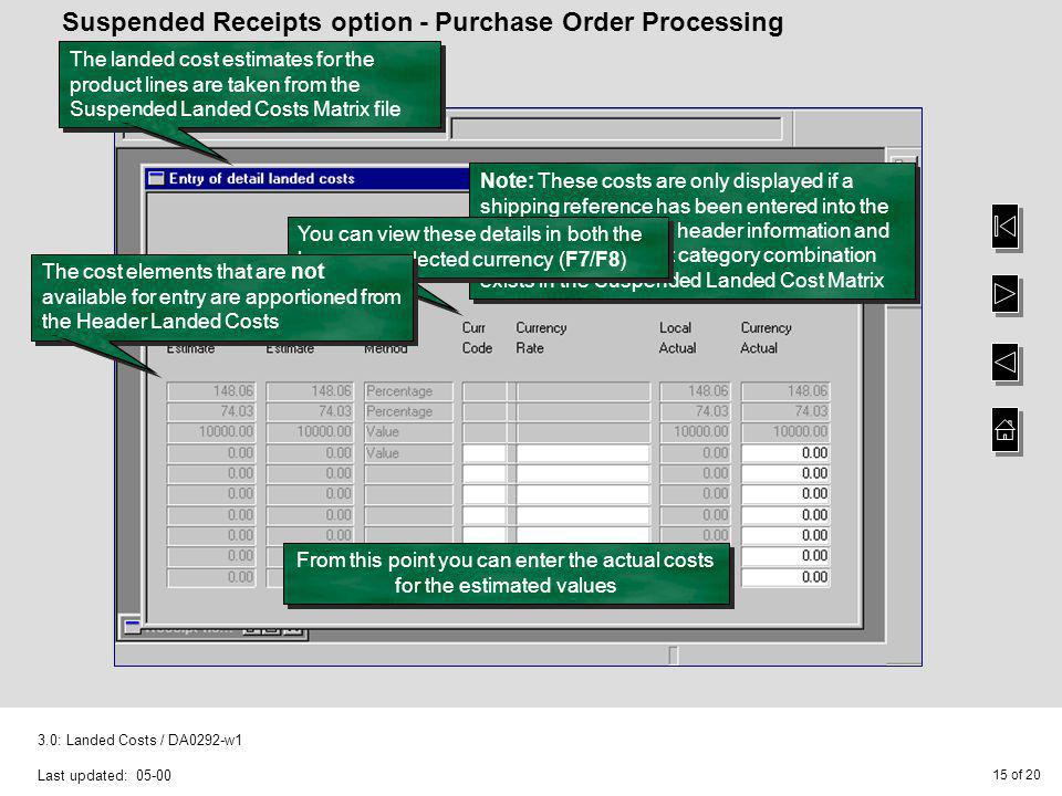 Suspended Receipts option - Purchase Order Processing
