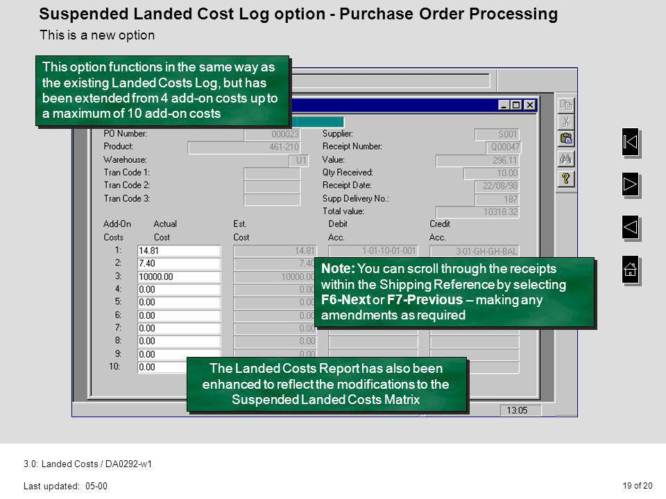 Suspended Landed Cost Log option - Purchase Order Processing