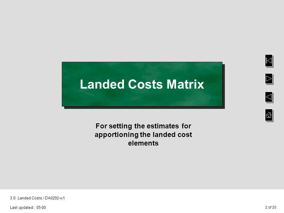 For setting the estimates for apportioning the landed cost elements