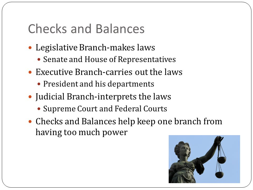 Checks and Balances Legislative Branch-makes laws