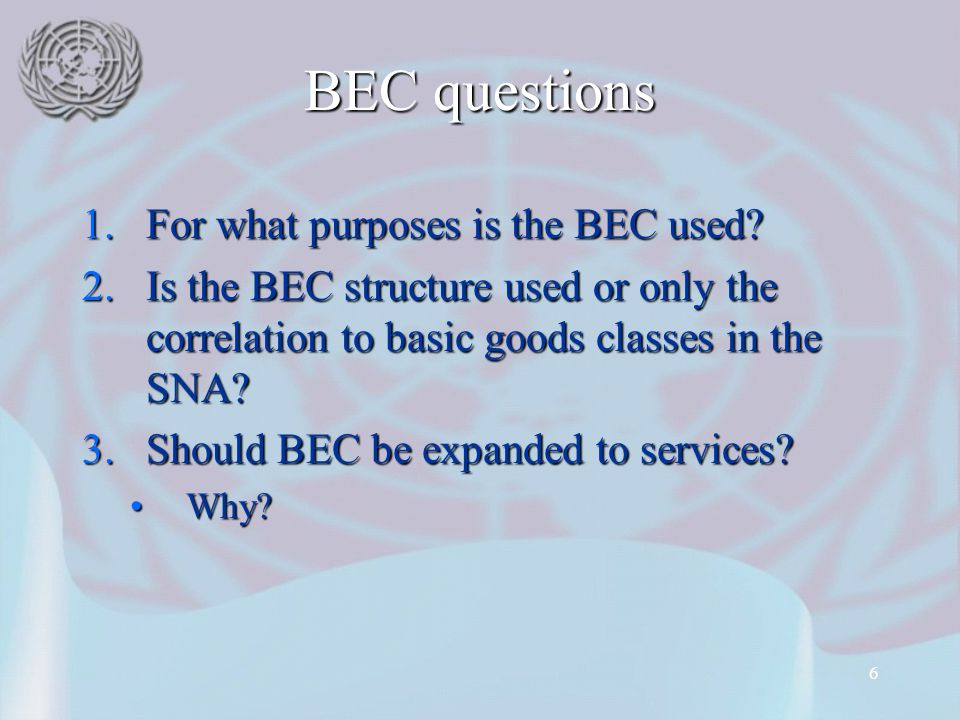 BEC questions For what purposes is the BEC used