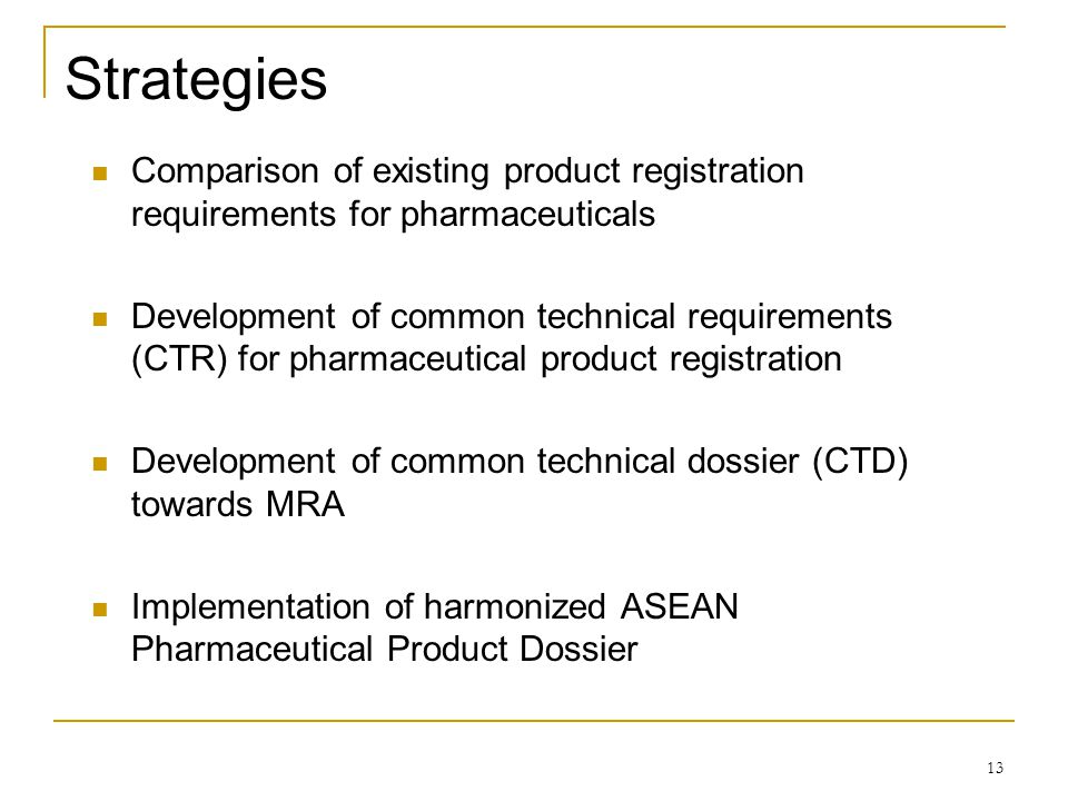 Strategies Comparison of existing product registration requirements for pharmaceuticals.