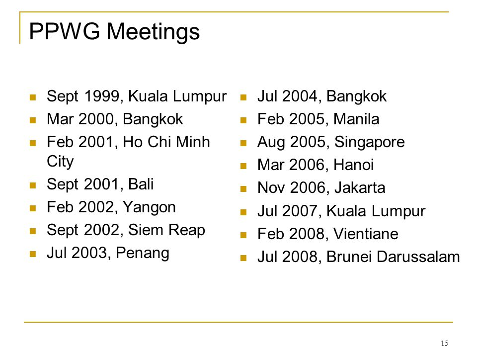 PPWG Meetings Sept 1999, Kuala Lumpur Mar 2000, Bangkok