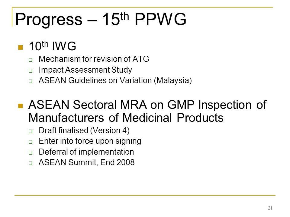 Progress – 15th PPWG 10th IWG