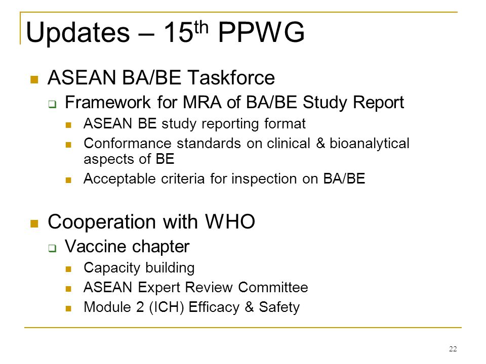 Updates – 15th PPWG ASEAN BA/BE Taskforce Cooperation with WHO