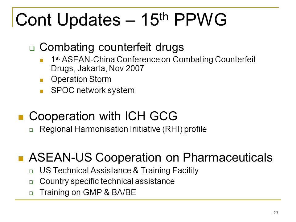 Cont Updates – 15th PPWG Cooperation with ICH GCG