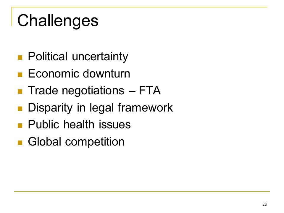 Challenges Political uncertainty Economic downturn
