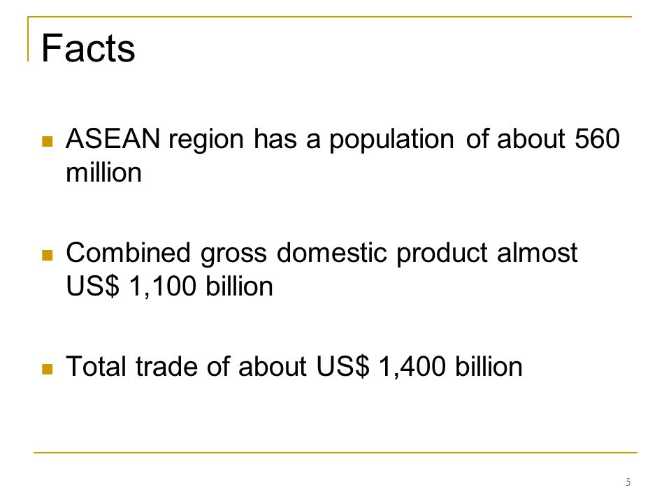 Facts ASEAN region has a population of about 560 million