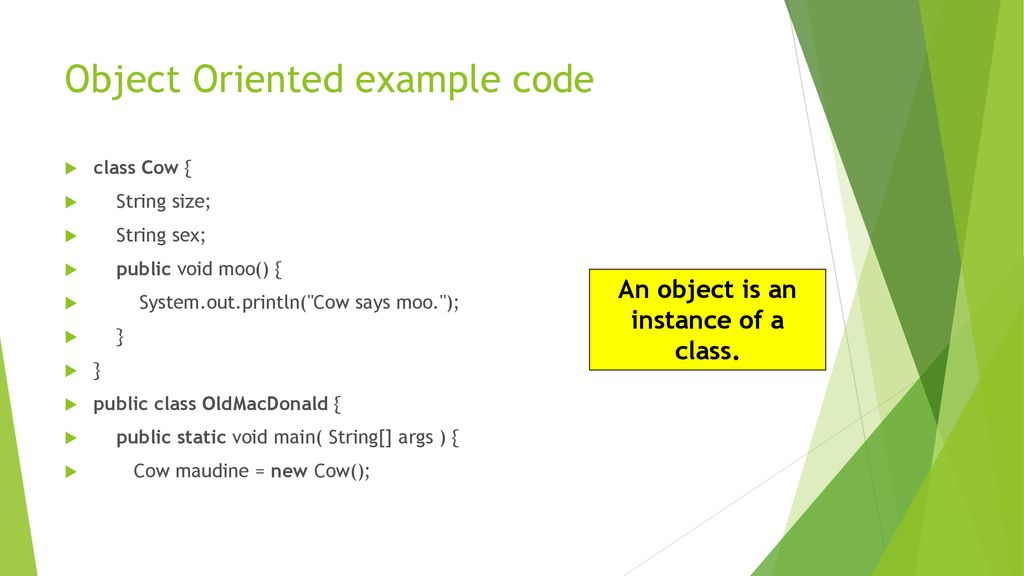 Object Oriented example code