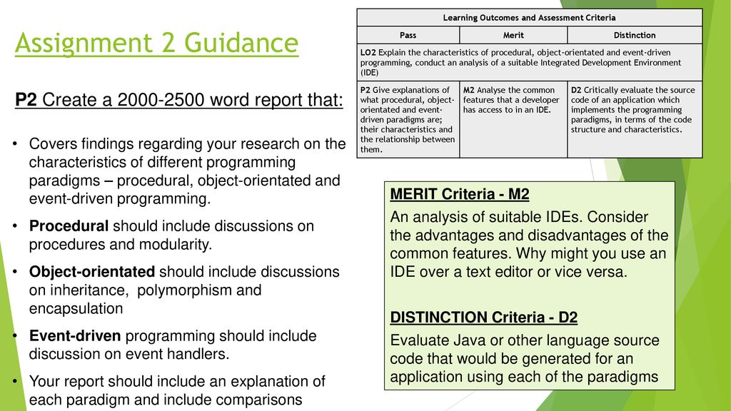 Learning Outcomes and Assessment Criteria