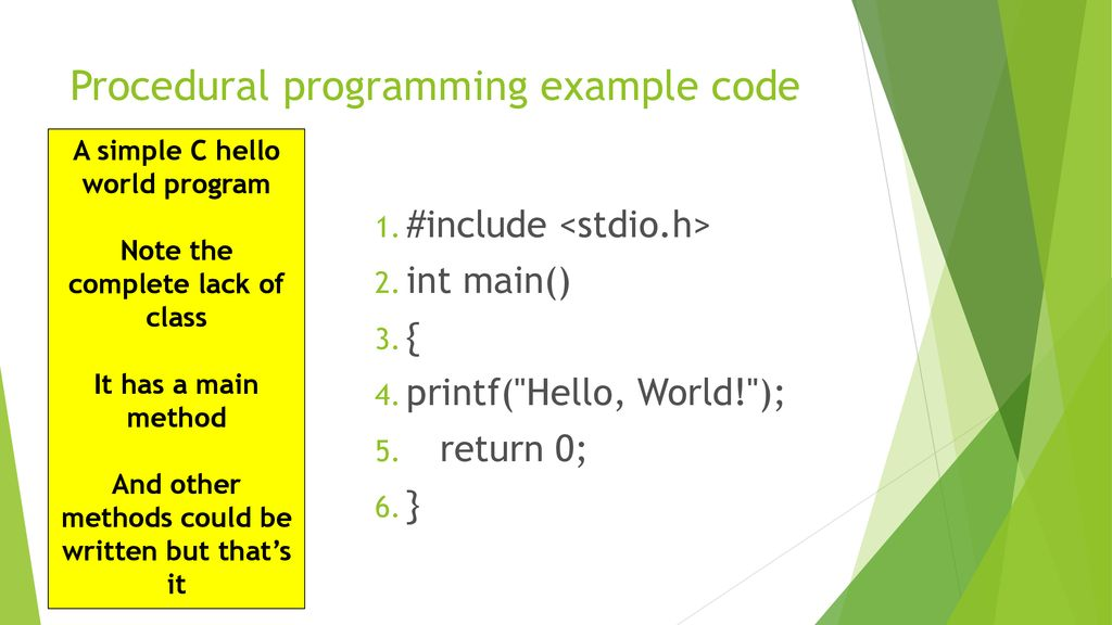 Procedural programming example code