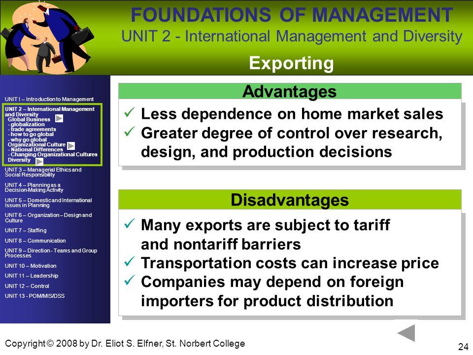 Exporting Advantages Disadvantages