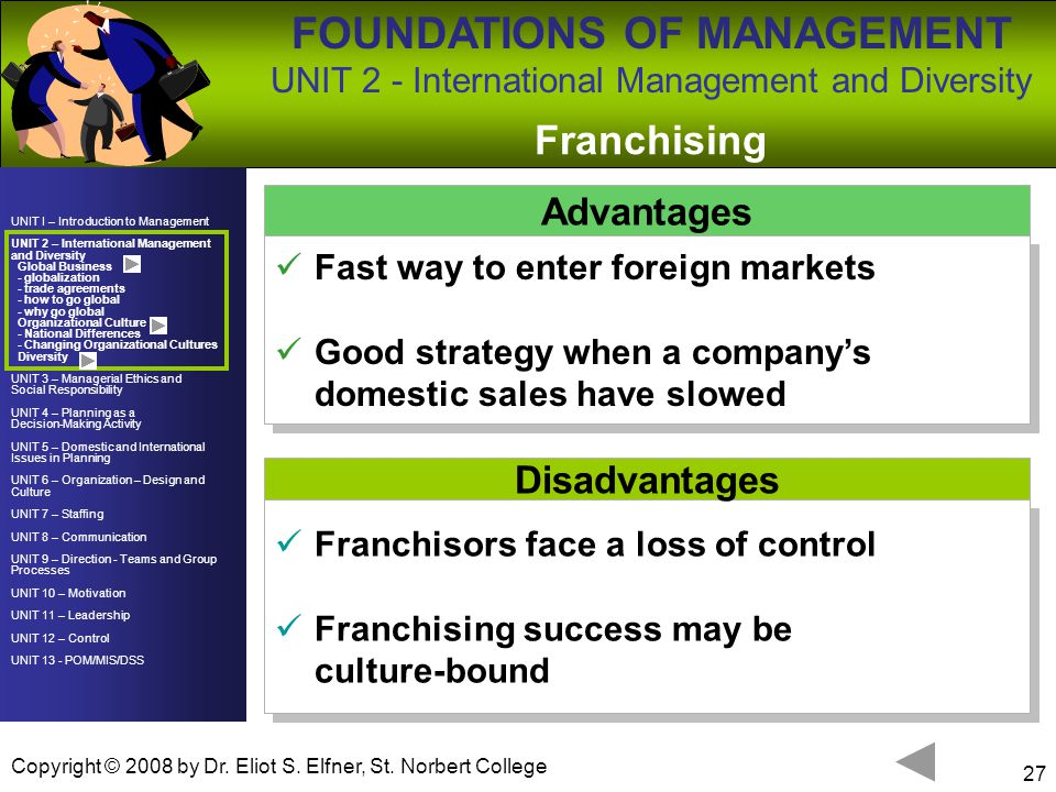 Franchising Advantages Disadvantages Fast way to enter foreign markets