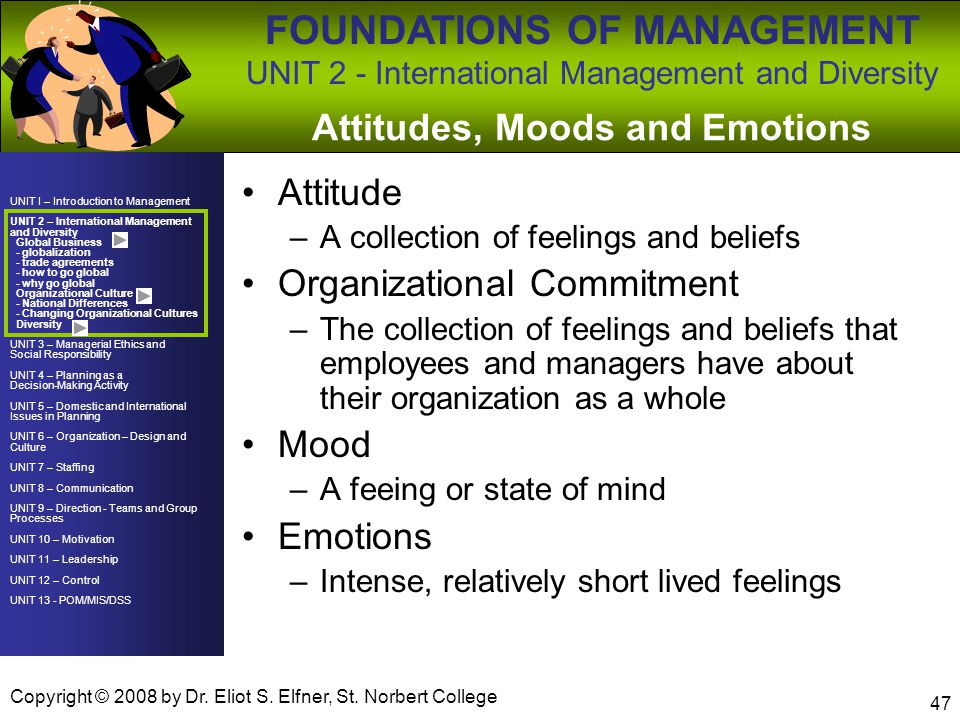 Attitudes, Moods and Emotions
