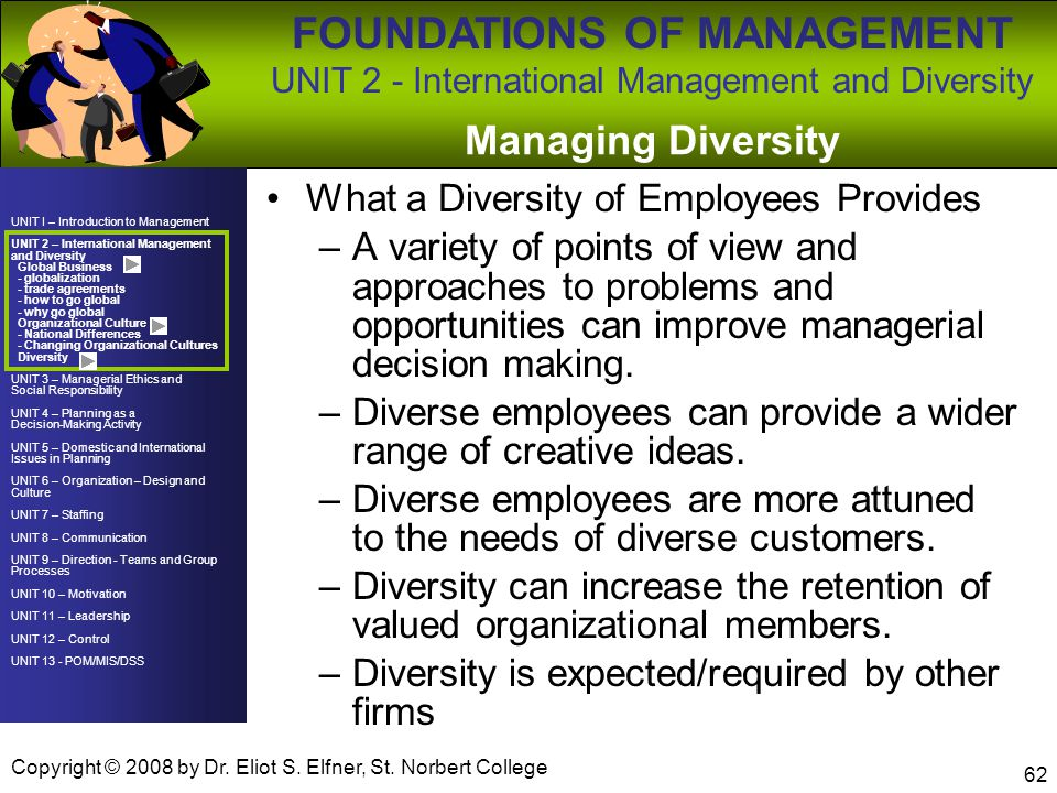 Managing Diversity What a Diversity of Employees Provides