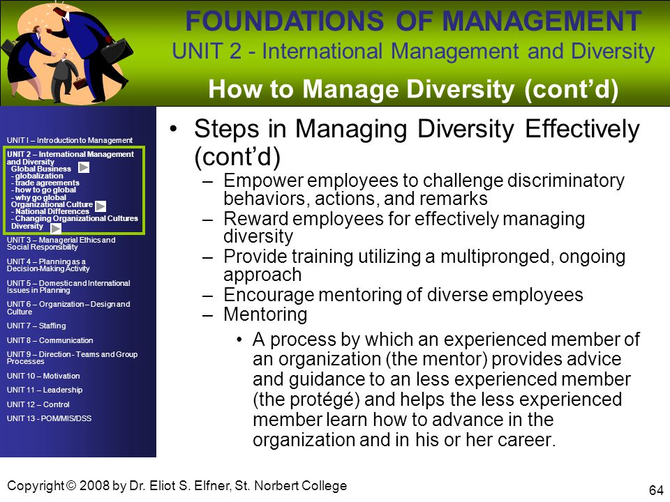How to Manage Diversity (cont'd)