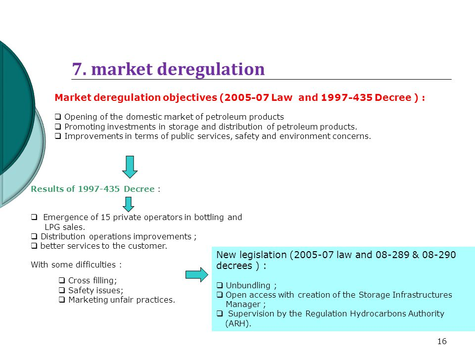 7. market deregulation Market deregulation objectives (2005-07 Law and 1997-435 Decree ) : Opening of the domestic market of petroleum products.