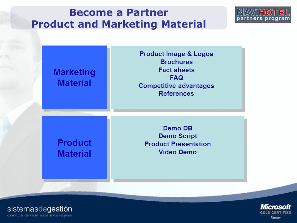 Become a Partner Product and Marketing Material Competitive advantages