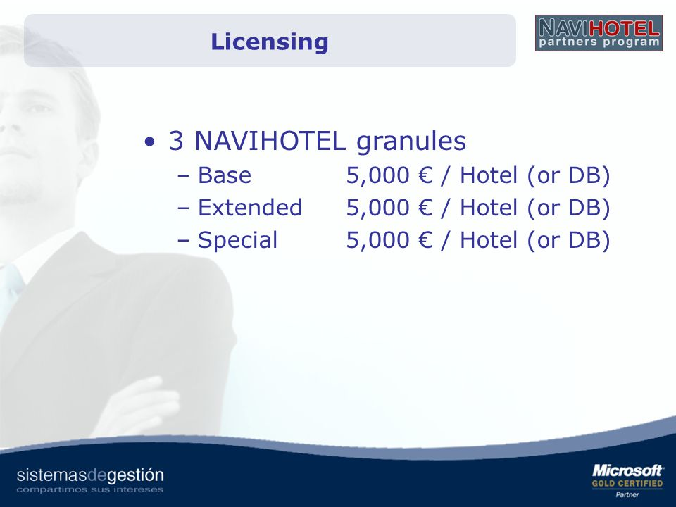 3 NAVIHOTEL granules Licensing Base 5,000 € / Hotel (or DB)