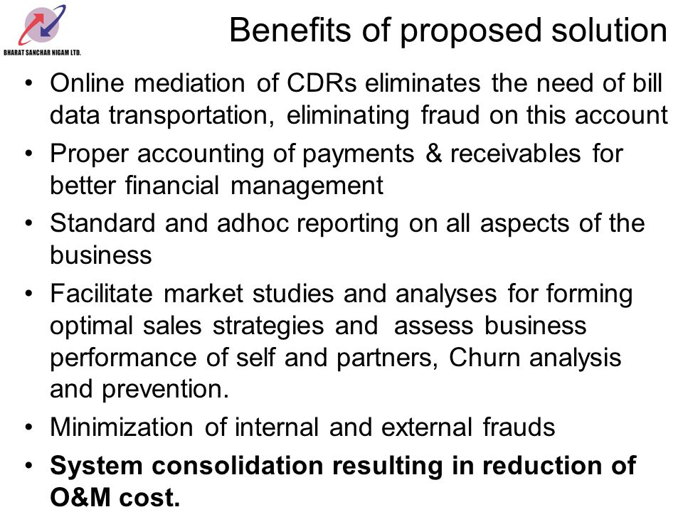 Benefits of proposed solution