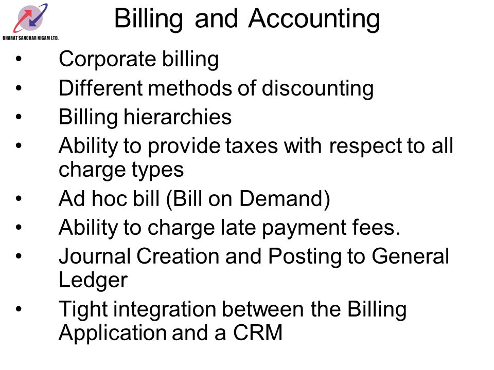 Billing and Accounting