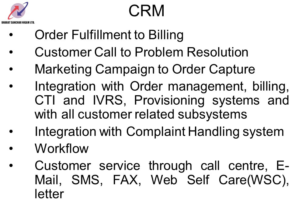 CRM Order Fulfillment to Billing Customer Call to Problem Resolution