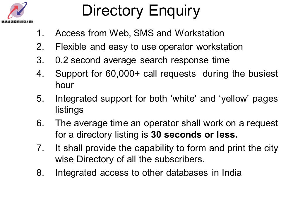 Directory Enquiry Access from Web, SMS and Workstation