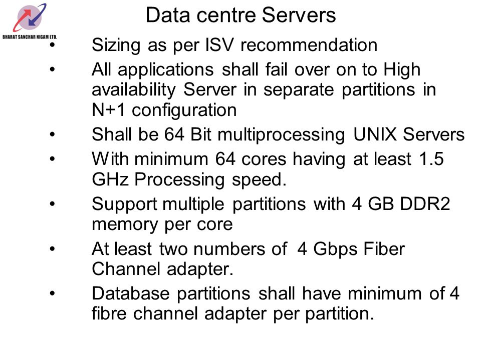 Data centre Servers Sizing as per ISV recommendation