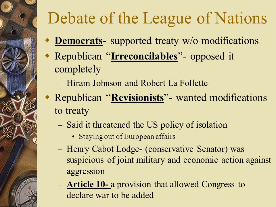 Debate of the League of Nations