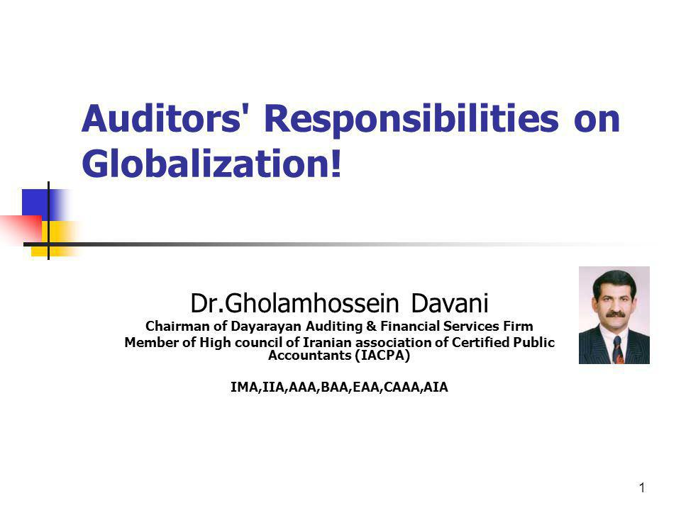 Auditors Responsibilities on Globalization!