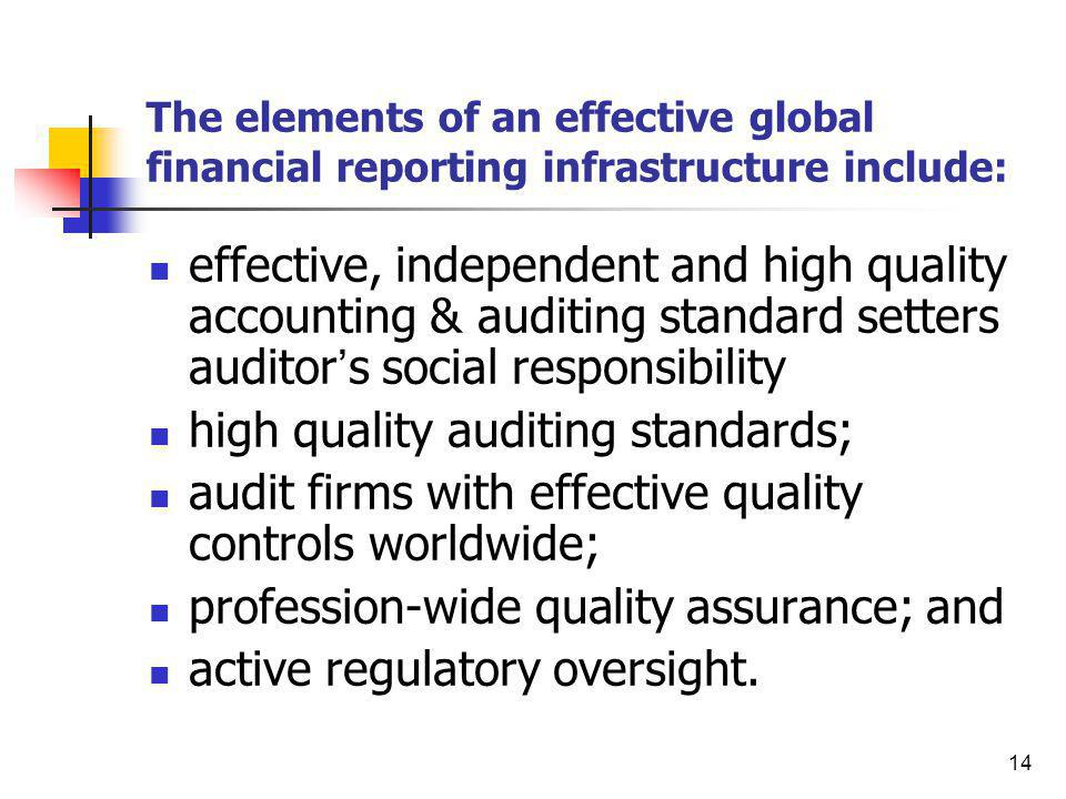 high quality auditing standards;