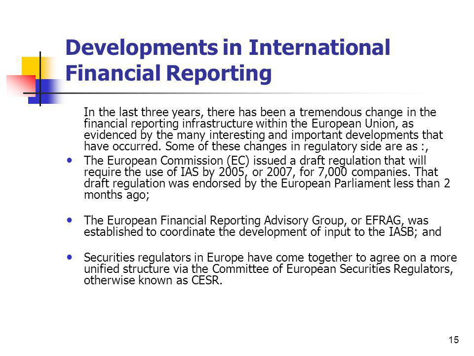 Developments in International Financial Reporting