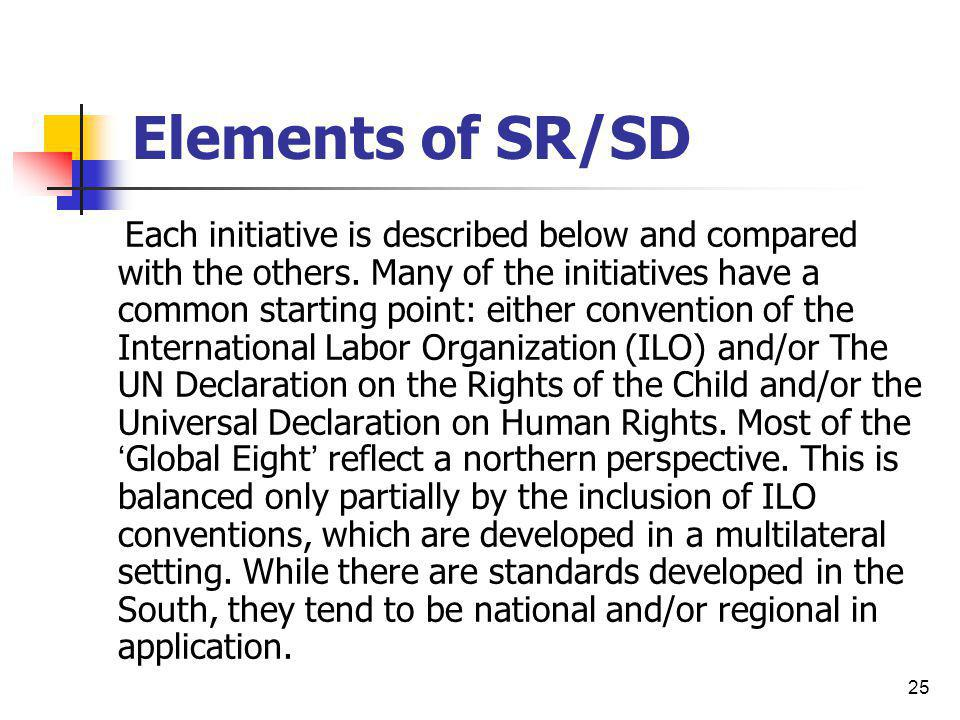 Elements of SR/SD