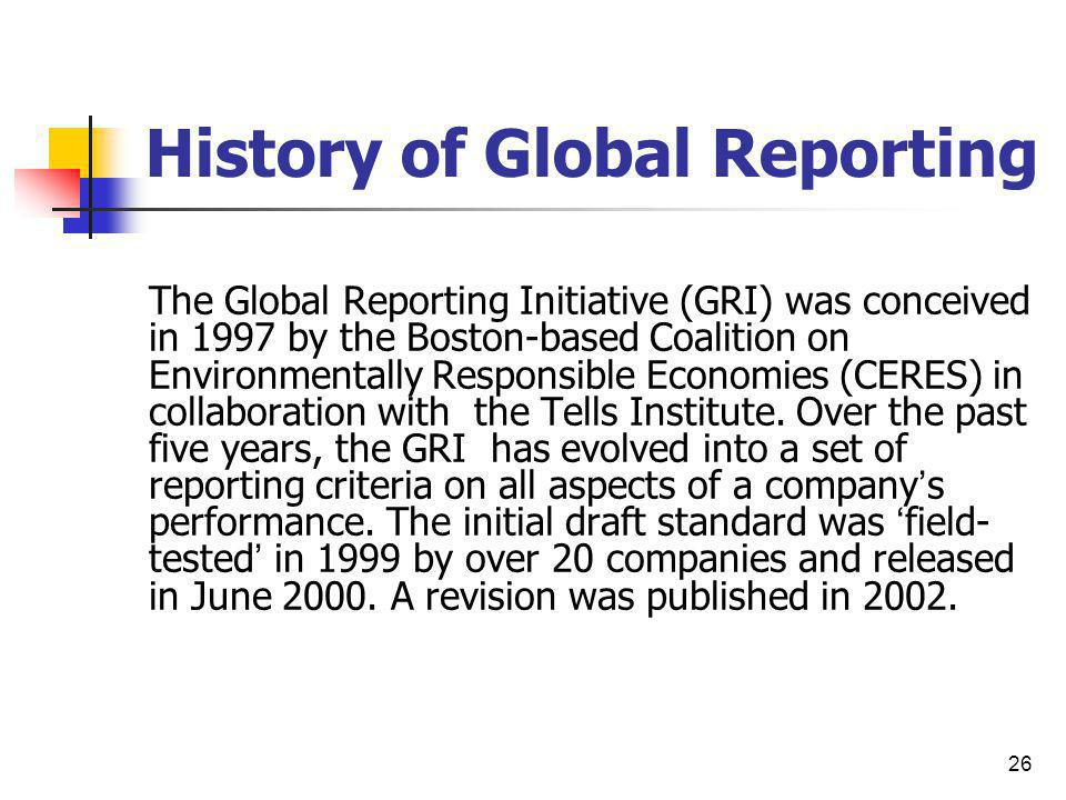 History of Global Reporting