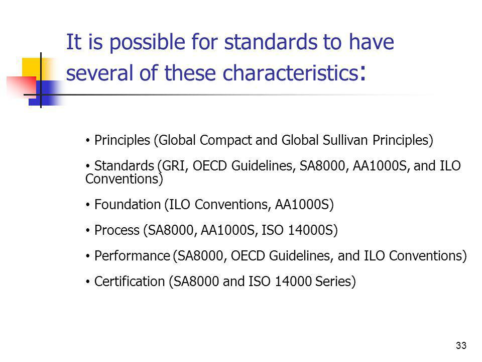 It is possible for standards to have several of these characteristics: