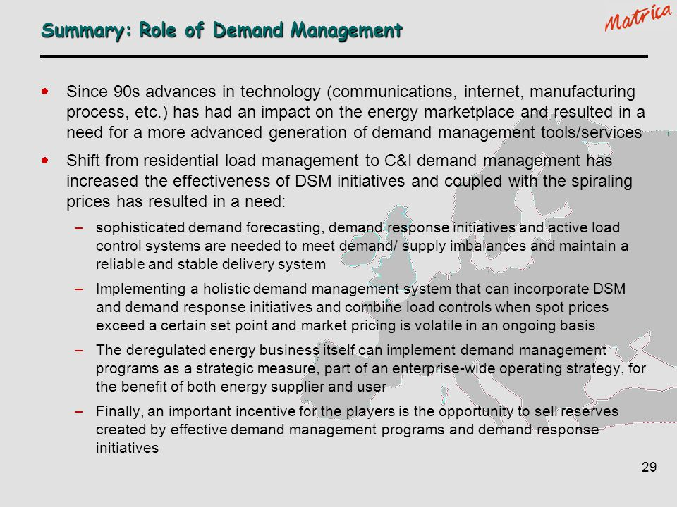 Summary: Role of Demand Management