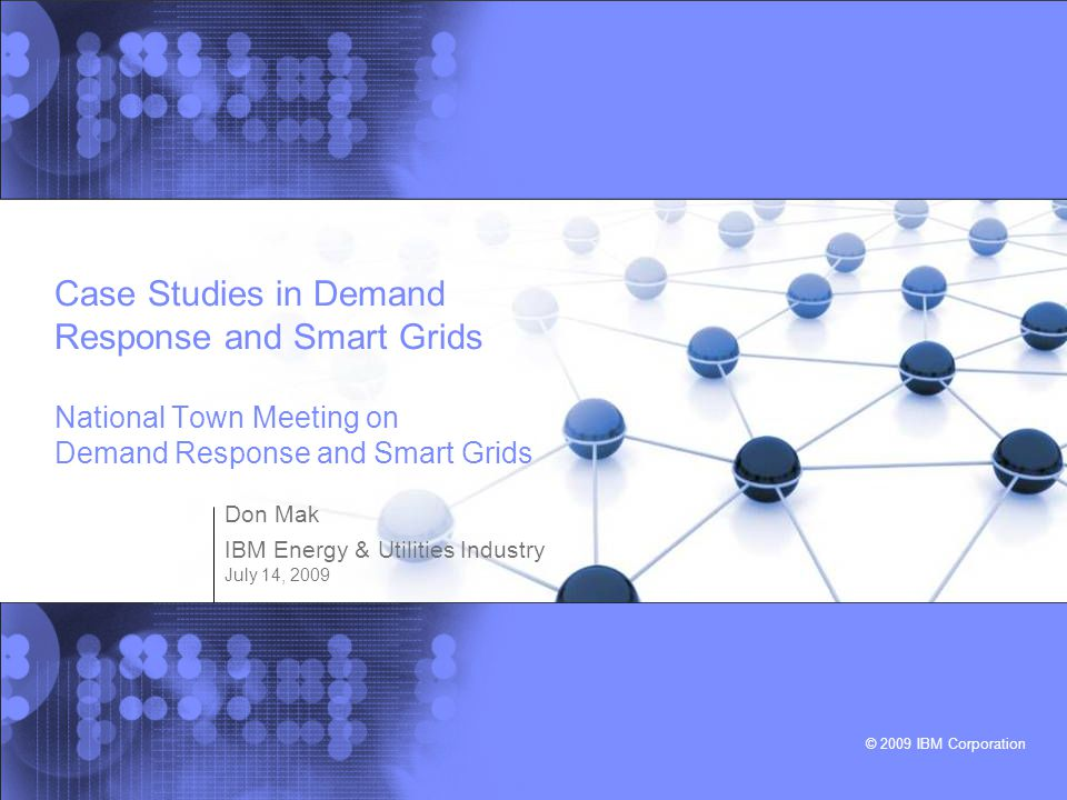Don Mak IBM Energy & Utilities Industry July 14, 2009