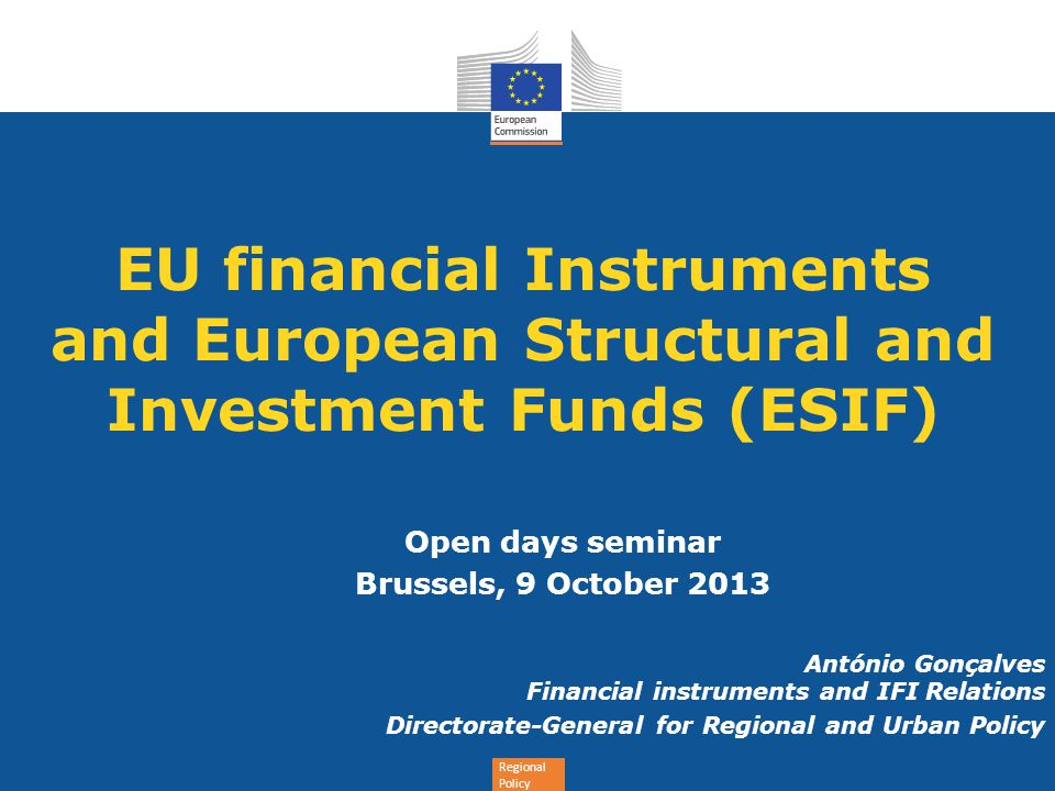 EU financial Instruments and European Structural and Investment Funds (ESIF)