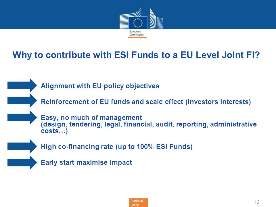 Why to contribute with ESI Funds to a EU Level Joint FI