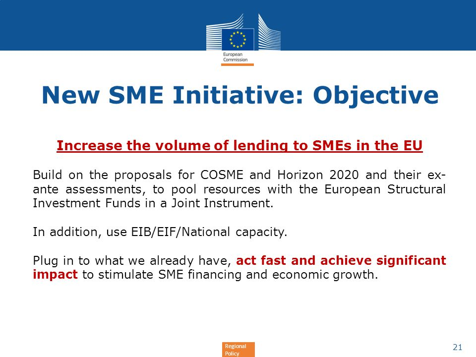 New SME Initiative: Objective
