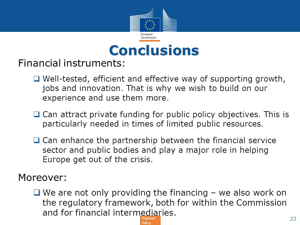 Conclusions Financial instruments: Moreover: