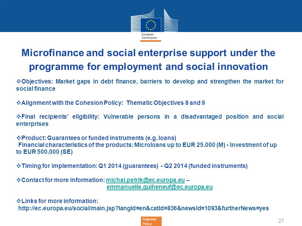 Microfinance and social enterprise support under the programme for employment and social innovation