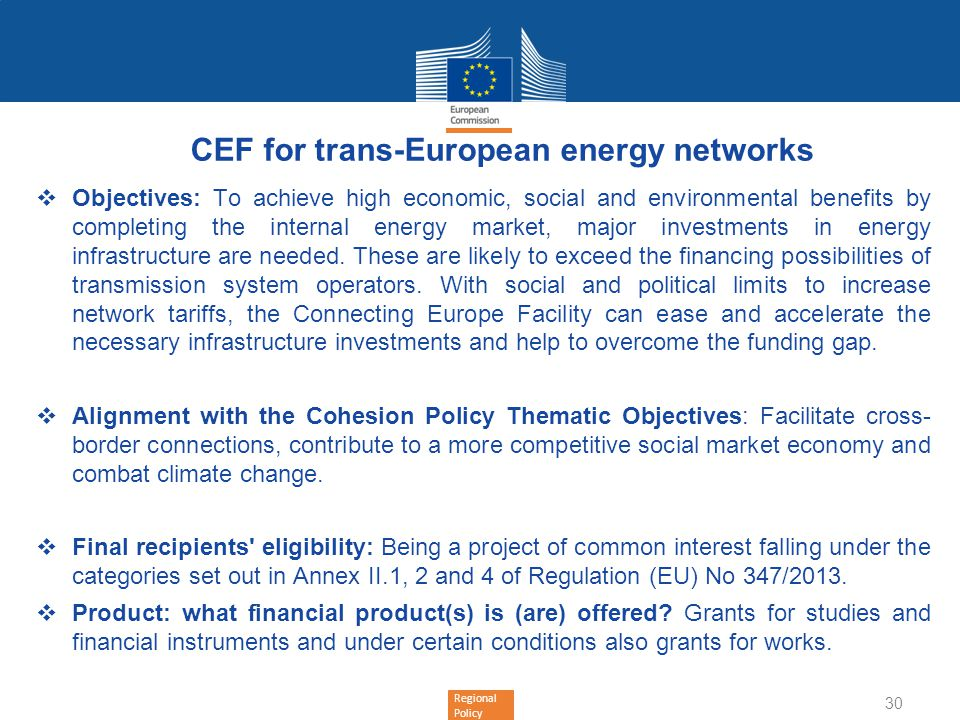 CEF for trans-European energy networks