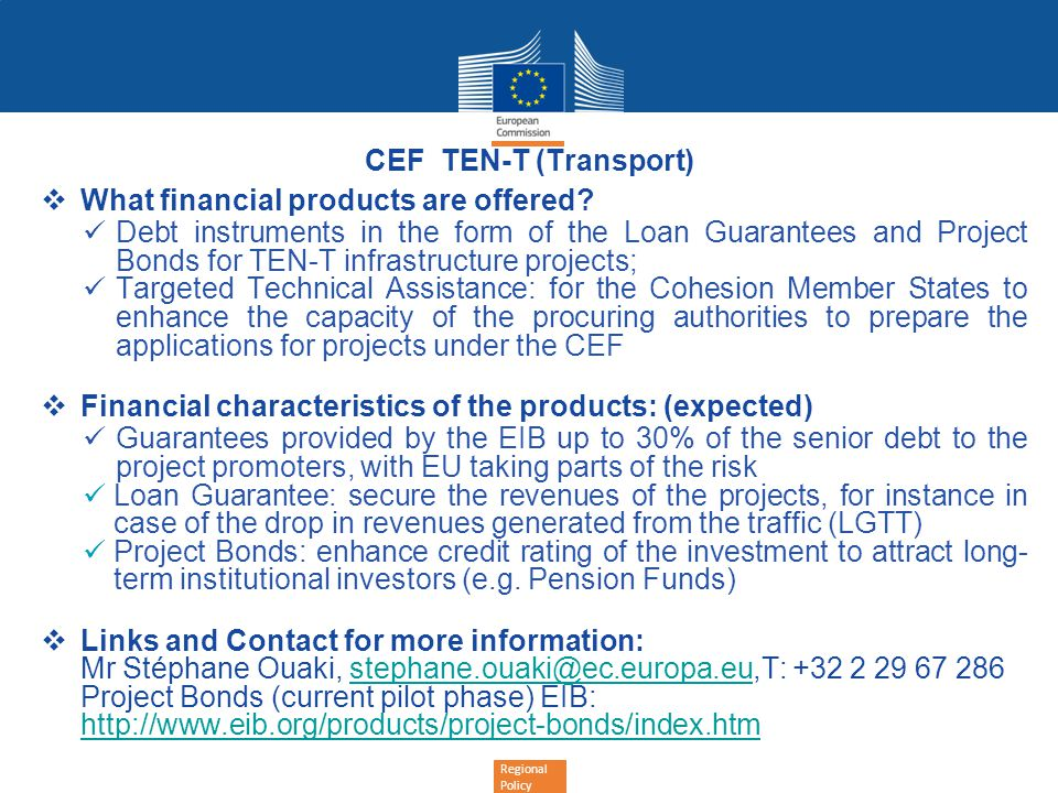 CEF TEN-T (Transport) What financial products are offered