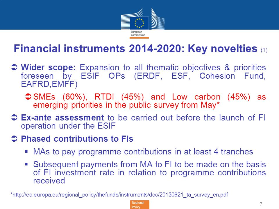 Financial instruments 2014-2020: Key novelties (1)