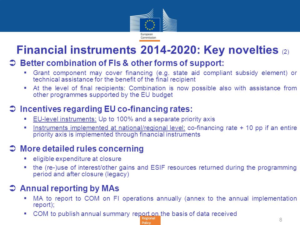 Financial instruments 2014-2020: Key novelties (2)
