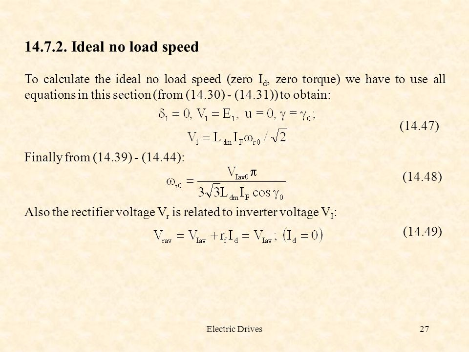 Ideal no load speed